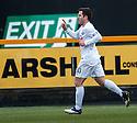 Ayr Utd's Liam Buchanan (10) celebrates after he scores Ayr's first goal.