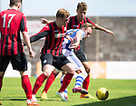 St Johnstone v Real Sociadad...12.07.15  Bayview, Methil (Home of East Fife FC)<br /> David Zurutuza is tackled by saints trialist Liam Craig and Ally Gilchrist<br /> Picture by Graeme Hart.<br /> Copyright Perthshire Picture Agency<br /> Tel: 01738 623350  Mobile: 07990 594431