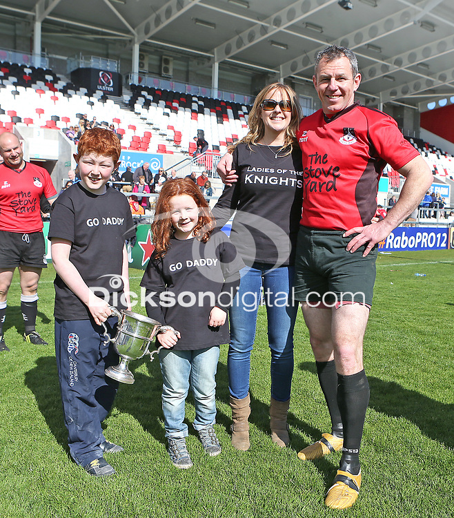 2014 McCAMBLEY CUP FINAL - Ards 4 vs Cookstown   Saturday 26th April 2014<br /> <br /> Gordy McBride with his family after the 2014 McCambley Cup Final between Ards 4's and Cookstown at Ravenhill Stadium, Belfast.<br /> <br /> Mandatory Credit - Photo by John Dickson - DICKSONDIGITAL