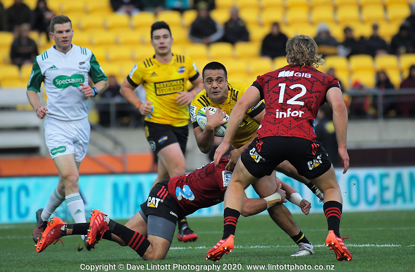 Chase Tiatia takes the ball up during the Super Rugby Aotearoa match between the Hurricanes and Crusaders at Sky Stadium in Wellington, New Zealand on Saturday, 21 June 2020. Photo: Dave Lintott / lintottphoto.co.nz