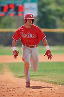 Philadelphia Phillies Logan O'Hoppe (6) running the bases during an exhibition game against the Canada Junior National Team on March 11, 2020 at Baseball City in St. Petersburg, Florida.  (Mike Janes/Four Seam Images)