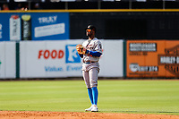 Rocket City Trash Pandas second baseman Luis Aviles Jr. (14) on defense against the Tennessee Smokies at Smokies Stadium on July 2, 2021, in Kodak, Tennessee. (Danny Parker/Four Seam Images)