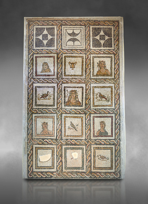 Picture of a Roman mosaics design depicting Dionysus, God of wine, surrounded by women's busts representing the Four Seasons, from the ancient Roman city of Thysdrus. 3rd century AD. El Djem Archaeological Museum, El Djem, Tunisia. Against a grey background