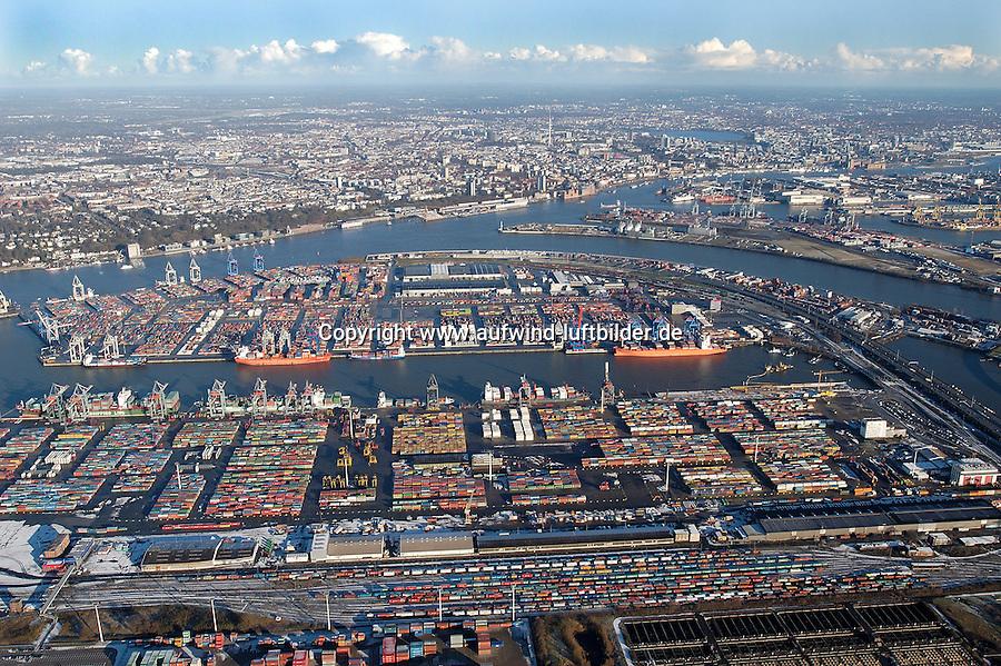Deutschland, Hamburg, Containerhafen, Waltershof, Stadtansicht, Elbe