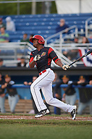 Batavia Muckdogs center fielder Thomas Jones (49) at bat during a game against the West Virginia Black Bears on June 26, 2017 at Dwyer Stadium in Batavia, New York.  Batavia defeated West Virginia 1-0 in ten innings.  (Mike Janes/Four Seam Images)