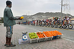 The peloton passes through Masafi during Stage 5 of the 2021 UAE Tour running 170km from International Marine Club Fujairah to Jebel Jais, Fujairah, UAE. 25th February 2021. <br /> Picture: LaPresse/Fabio Ferrari   Cyclefile<br /> <br /> All photos usage must carry mandatory copyright credit (© Cyclefile   LaPresse/Fabio Ferrari)