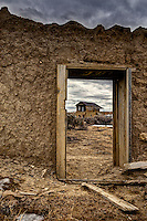 Adobe ruins in the ghost town of Guadalupe, New Mexico in the Rio Puerco Valley, San Juan Basin of northwestern New Mexico.