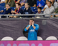 Foxborough, Massachusetts - September 1, 2018: In a Major League Soccer (MLS) match, New England Revolution (blue/white) tied Portland Timbers (white/green), 1-1, at Gillette Stadium.<br /> Jeff Attinella replaced in second half.