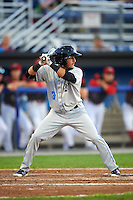 Hudson Valley Renegades shortstop Bill Pujols (3) at bat during a game against the Batavia Muckdogs on August 1, 2016 at Dwyer Stadium in Batavia, New York.  Hudson Valley defeated Batavia 5-1.  (Mike Janes/Four Seam Images)