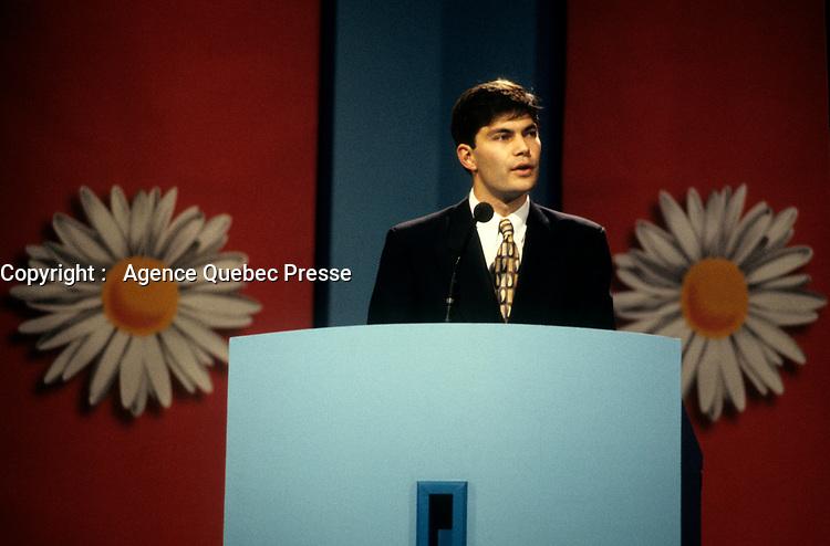 FILE PHOTO - Mario Dumont  avant<br /> La defaite du camp du OUI lors du referendum, le 30 Octobre 1995<br /> <br /> PHOTO : Pierre Roussel<br />  - Agence Quebec Presse