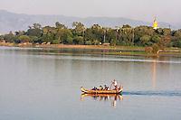 Myanmar, Burma, Mandalay.  Taungthaman Lake.  Burmese Family Enjoying an Afternoon on the Lake.