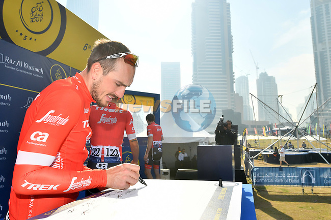 John Degenkolb (GER) Trek-Segafredo at sign on before the start of Stage 2 The  Ras Al Khaimah Stage of the Dubai Tour 2018 the Dubai Tour's 5th edition, running 190km from Skydive Dubai to Ras Al Khaimah, Dubai, United Arab Emirates. 7th February 2018.<br /> Picture: LaPresse/Massimo Paolone | Cyclefile<br /> <br /> <br /> All photos usage must carry mandatory copyright credit (© Cyclefile | LaPresse/Massimo Paolone)