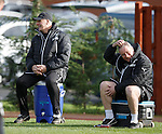 Jim Stewart and Ally McCoist enjoying a good old laugh at training
