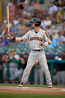Aberdeen IronBirds left fielder Robert Neustrom (14) at bat during a game against the Tri-City ValleyCats on August 27, 2018 at Joseph L. Bruno Stadium in Troy, New York.  Aberdeen defeated Tri-City 11-5.  (Mike Janes/Four Seam Images)