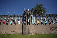 Pictured: Pictured: A blue dragon, the trophy and a series of UEFA banners draped outside Cardiff Castle Thursday 25 May 2017<br /> Re: Preparations for the UEFA Champions League final, between Real Madrid and Juventus in Cardiff, Wales, UK. Thursday 25 May 2017<br /> Re: Preparations for the UEFA Champions League final, between Real Madrid and Juventus in Cardiff, Wales, UK.