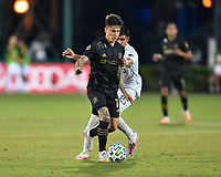 LAKE BUENA VISTA, FL - JULY 18: Brian Rodríguez #17 of LAFC turns away from pressure during a game between Los Angeles Galaxy and Los Angeles FC at ESPN Wide World of Sports on July 18, 2020 in Lake Buena Vista, Florida.