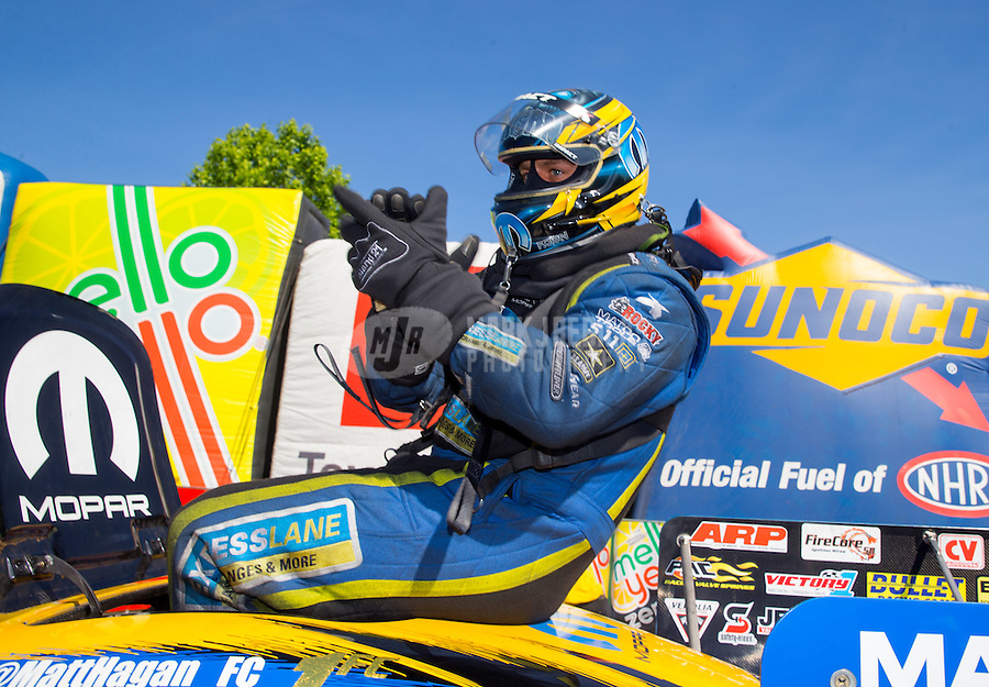 Jun 7, 2015; Englishtown, NJ, USA; NHRA funny car driver Matt Hagan celebrates after winning the Summernationals at Old Bridge Township Raceway Park. Mandatory Credit: Mark J. Rebilas-