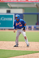 GCL Mets shortstop Gregory Guerrero (85) leads off first base during the second game of a doubleheader against the GCL Nationals on July 22, 2017 at The Ballpark of the Palm Beaches in Palm Beach, Florida.  GCL Mets defeated the GCL Nationals 4-1.  (Mike Janes/Four Seam Images)