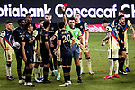 Eduard Atuesta #20 of Los Angeles FC (USA) receives a red card during their CONCACAF Champions League Semi Finals match against Club America (MEX) at the Orlando's Exploria Stadium on 19 December 2020, in Florida, USA. Photo by Victor Fraile / Power Sport Images
