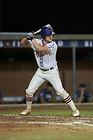 Hogan Windish (21) (UNCG) of the High Point-Thomasville HiToms at bat against the Wilson Tobs at Finch Field on July 17, 2020 in Thomasville, NC. The Tobs defeated the HiToms 2-1. (Brian Westerholt/Four Seam Images)