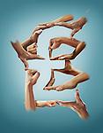 Illustrative image of hands forming pound sign against blue background