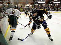 30 December 2007: Quinnipiac University Bobcats' defenseman Zach Hansen, a Freshman from White Bear Lake, MN, in action against the University of Vermont Catamounts at Gutterson Fieldhouse in Burlington, Vermont. The Bobcats defeated the Catamounts 4-1 to win the Sheraton/TD Banknorth Catamount Cup Tournament...Mandatory Photo Credit: Ed Wolfstein Photo