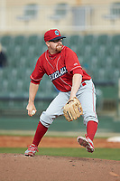 Lakewood BlueClaws relief pitcher Addison Russ (15) in action against the Kannapolis Intimidators at Kannapolis Intimidators Stadium on April 8, 2018 in Kannapolis, North Carolina.  The Intimidators defeated the BlueClaws 4-3 in game two of a double-header.  (Brian Westerholt/Four Seam Images)