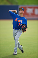 GCL Mets pitcher Liam McCall (71) warms up in the outfield before the first game of a doubleheader against the GCL Nationals on July 22, 2017 at The Ballpark of the Palm Beaches in Palm Beach, Florida.  GCL Mets defeated the GCL Nationals 1-0 in a seven inning game that originally started on July 17th.  (Mike Janes/Four Seam Images)