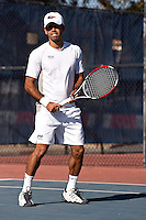 SAN ANTONIO, TX - FEBRUARY 9, 2008: The St. Edward's University Hilltoppers vs. The University of Texas at San Antonio Roadrunners Men's Tennis at the UTSA Tennis Center. (Photo by Jeff Huehn)