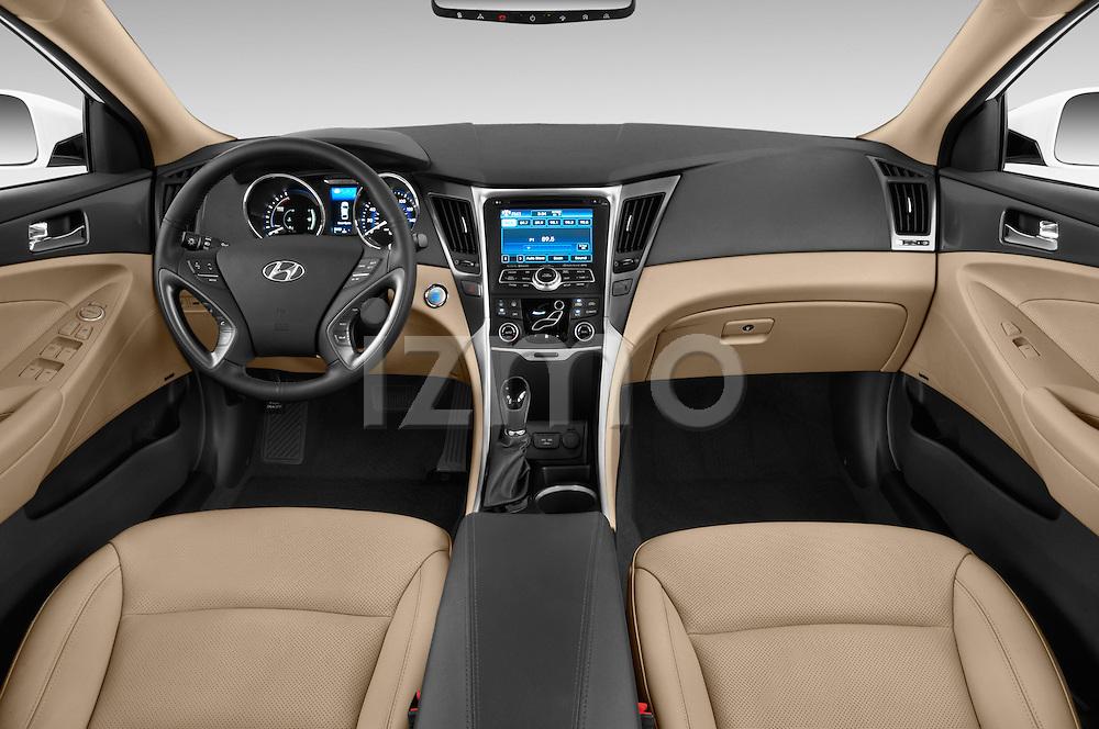 Stock photo of straight dashboard view of a 2015 Hyundai Sonata  Hybrid 4 Door Sedan