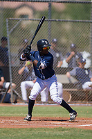 San Diego Padres shortstop Jordy Barley (15) at bat during an Instructional League game against the Texas Rangers on September 20, 2017 at Peoria Sports Complex in Peoria, Arizona. (Zachary Lucy/Four Seam Images)