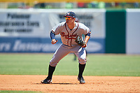 Mississippi Braves first baseman Joey Meneses (33) during a game against the Montgomery Biscuits on April 25, 2017 at Montgomery Riverwalk Stadium in Montgomery, Alabama.  Mississippi defeated Montgomery 3-2.  (Mike Janes/Four Seam Images)