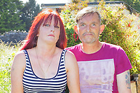 Pictured: Jonathan Russ (R) whose son Ethan Powell died, with partner Nicola Rogers (L). Wednesday 16 June 2021<br /> Re: Riot aftermath in the Mayhill area of Swansea, Wales, UK.