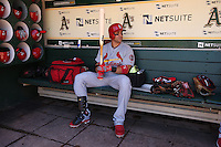 OAKLAND, CA - JUNE 29:  Carlos Beltran #3 of the St. Louis Cardinals sits in the dugout before the game against the Oakland Athletics at O.co Coliseum on Saturday June 29, 2013 in Oakland, California. Photo by Brad Mangin