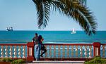 Spanien, Andalusien, Provinz Cádiz, Chipiona: Badeort, Strand an der Costa de la Luz, Promenade | Spain, Andalusia, Province Cádiz, Chipiona: beach resort at Costa de la Luz, seaside promenade