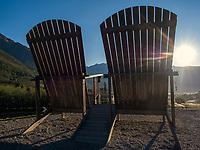 Thronsessel bei Parkplatz Töll, Oberplars, Algund bei Meran, Region Südtirol-Bozen, Italien, Europa<br /> Throne Chairs near parking Töll, Oberplars, Lagundo near Merano, Region South Tyrol-Bolzano, Italy, Europe
