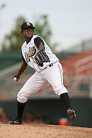 June 15 2007:  Sammy Leon of the Rancho Cucamonga Quakes pitches against the Modesto Nuts at The Epicenter in Rancho Cucamonga,CA.  Photo by Larry Goren/Four Seam Images