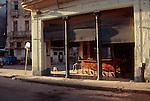 "Cuba, Havana, A Havana corner cafe awaits the return of the tourist in Central Havana (Ciudad Centro), Homage to ""Nighthawks"" by Edward Hopper,"