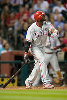 Philadelphia Phillies first baseman Ryan Howard #6 at bat during the Major League Baseball game against the Houston Astros at Minute Maid Park in Houston, Texas on September 13, 2011. Houston defeated Philadelphia 5-2.  (Andrew Woolley/Four Seam Images)