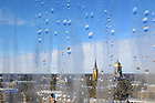 February 16, 2021; Campus skyline through a window covered in water droplets (Photo by Matt Cashore/University of Notre Dame)