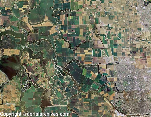 aerial map of the San Joaquin river delta, California