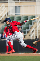 Arquimedes Gamboa (7) of the Lakewood BlueClaws follows through on his swing against the Kannapolis Intimidators at Kannapolis Intimidators Stadium on April 9, 2017 in Kannapolis, North Carolina.  The BlueClaws defeated the Intimidators 7-1.  (Brian Westerholt/Four Seam Images)