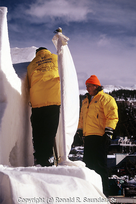 TEAM MATES AT SNOW SCULPTURE COMPETITION