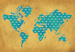 Illustrative image of grid on world map depicting the concept of global business networking