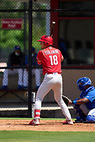 Philadelphia Phillies Micah Yonamine (18) bats during an Extended Spring Training game against the Toronto Blue Jays on June 12, 2021 at the Carpenter Complex in Clearwater, Florida. (Mike Janes/Four Seam Images)