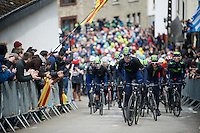 Team Movistar paces the peloton up the Cote de Saint-Roche (1850m/6.3%) in Houffalize in service of race favourite Alejandro Valverde (ESP/Movistar)<br /> <br /> 102nd Liège-Bastogne-Liège 2016
