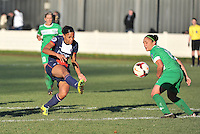 20131211 - HENIN-BEAUMONT , France :  PSG's Marie-Laure Delie pictured with the attempt on goal with Henin's defender Charlotte Blanchard (right) watching during the female soccer match between FC Henin Beaumont and Paris Saint-Germain Feminin , of the Ninth matchday in the French First Female Division . Wednesday 11 December 2013. PHOTO DAVID CATRY