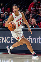 COLLEGE PARK, MD - JANUARY 26: Stephanie Jones #24 of Maryland on the attack during a game between Northwestern and Maryland at Xfinity Center on January 26, 2020 in College Park, Maryland.
