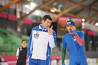 SCHAATSEN: HAMAR: Vikingskipet, 15-02-2013, Essent ISU WK allround, Season 2012-2013, Training, Gianni Romme (trainer/coach Team Italy), Marco Cignini (ITA), ©foto Martin de Jong