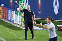 CHICAGO, UNITED STATES - AUGUST 25: Jaap Stam head coach of FC Cincinnati reacts to a play during a game between FC Cincinnati and Chicago Fire at Soldier Field on August 25, 2020 in Chicago, Illinois.